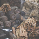 Dried herbs, flowers and arabic spices in the souk at Deira in D Royalty Free Stock Photos