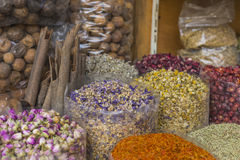 Dried herbs, flowers and arabic spices in the souk at Deira in D Stock Photos