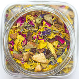 Dried Herbs and Flowers in a Jar Stock Photo