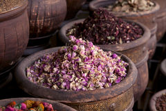 Dried herbs flowers (rose) in the  Marrakesh. Street shop, shallow dof Royalty Free Stock Photography