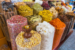 Dried herbs flowers spices in the spice souq at Deira Royalty Free Stock Photos