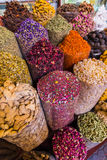 Dried herbs flowers spices in the spice souq at Deira Stock Image