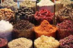 Dried herbs flowers spices in the spice souq at Deira Royalty Free Stock Images