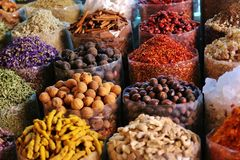 Dried herbs flowers spices in the spice souq at Deira Stock Photos