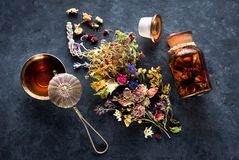 Dried herbs and herbal tea royalty free stock image
