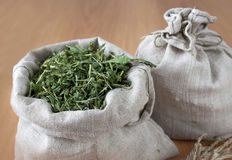 Dried herbs in linen bags Stock Image