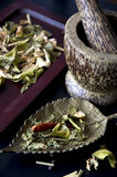 Dried herbs and mortar. Dried herbs and spices with mortar Stock Photo