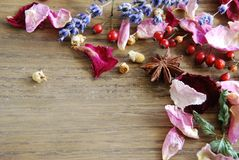 Dried herbs and spices Royalty Free Stock Photo