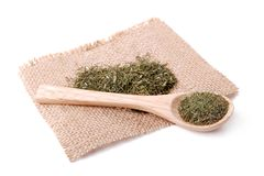 Dried herbs spices on a linen napkin Royalty Free Stock Image