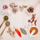 Dried herbs and spices nutmeg,star anise ,cinnamon stick,oregano Royalty Free Stock Image