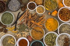 Dried Herbs and Spices Royalty Free Stock Images