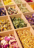 Dried herbs in a tray Stock Photo