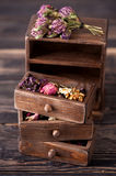 Dried herbs in wooden box Royalty Free Stock Images