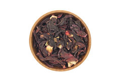 Dried Hibiscus buds in wooden bowl Royalty Free Stock Image