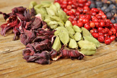 Dried hibiscus flowers, green cardamom, pink peppercorns and jun Stock Photography
