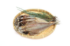 Dried Horse mackerel on a bamboo colander Royalty Free Stock Photography