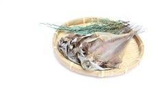 Dried Horse mackerel on a bamboo colander Stock Photo