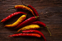 Dried hot chili peppers on aged wood Royalty Free Stock Image