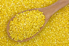 Dried Hulled and split mung bean in yellow without green skin on Royalty Free Stock Photography