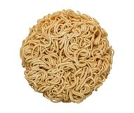 Dried instant noodle circle shape top view isolated on white background, path. Dried instant noodle circle shape top view isolated on white background, clipping stock image
