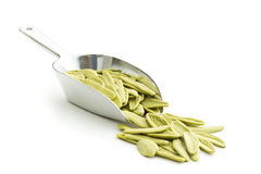 Dried italian pasta with spinach flavour. Stock Images