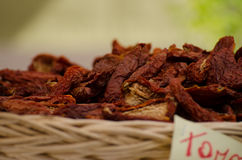 Dried italian tomatoes_01. This foto of dried italian tomatoes was made during a garden festival near Munich Stock Photos