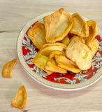 Dried jack fruit chips in small plate Stock Photography