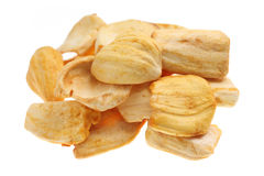 Dried Jackfruit Chips. Close up of a pile of dried jackfruit chips isolated on white background Royalty Free Stock Photography