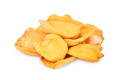 Dried jackfruit slices isolated on white. Background Royalty Free Stock Image