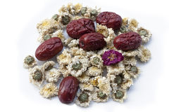 Free Dried Jujube Fruits, Chinese Dates And Chinese Chamomile Flowers Stock Photography - 72000392