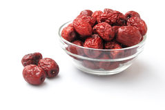 Dried jujube in glass bowl Stock Photography