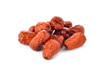 Dried Jujube, red date, Chinese date on white Stock Images