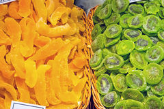 Dried kiwi and oranges at a market Stock Photography