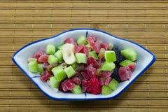 Dried kiwi, papaya, banans and berries Royalty Free Stock Photos