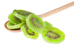 Dried kiwi in a wooden spoon Stock Photo