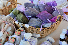 Dried lavender bags, lavender products Royalty Free Stock Photo