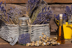 Dried lavender in a basket Stock Images