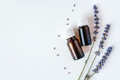 Dried lavender with a bottle of essential oil royalty free stock images