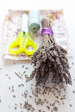 Dried lavender bouquet, scissors and cloth Stock Images