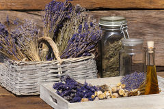 Dried lavender bunches and dried poppy capsules Royalty Free Stock Photo