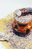 Dried lavender, essential oil. Royalty Free Stock Images