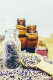 Dried lavender, essential oil. Stock Image