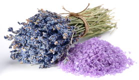 Dried lavender flowers and flavored sea salt Royalty Free Stock Image