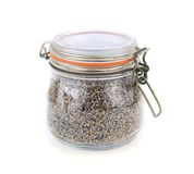 Dried lavender flowers in a glass jar Royalty Free Stock Photo