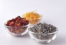 Dried lavender flowers with marigold and rose petals Stock Image