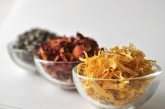 Dried lavender flowers with marigold and rose petals Royalty Free Stock Images