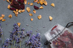 Dried lavender flowers and rose petals Stock Photos