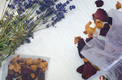Dried lavender flowers and rose petals Stock Images