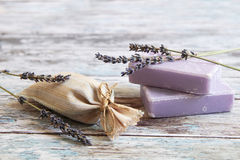Dried lavender and lavender soap. On rustic wooden board Royalty Free Stock Photography