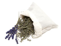 Dried lavender lrafs in a cotton bag Royalty Free Stock Images